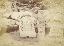Group of sculptured slabs from Amravati, photographed on site after the Government excavations of 1880
